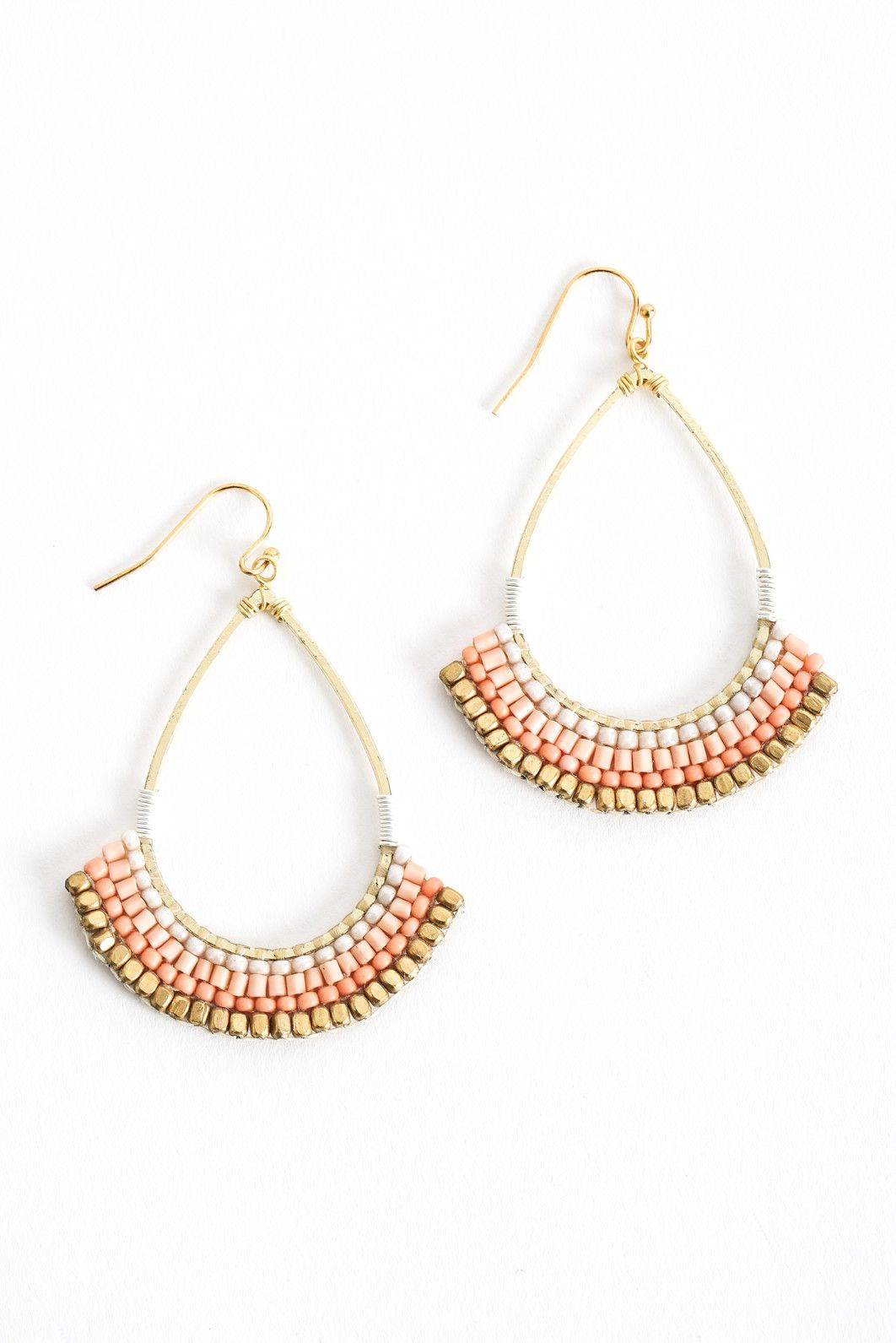 South Moon Under Open Teardrop Beaded Trim Drop Earrings