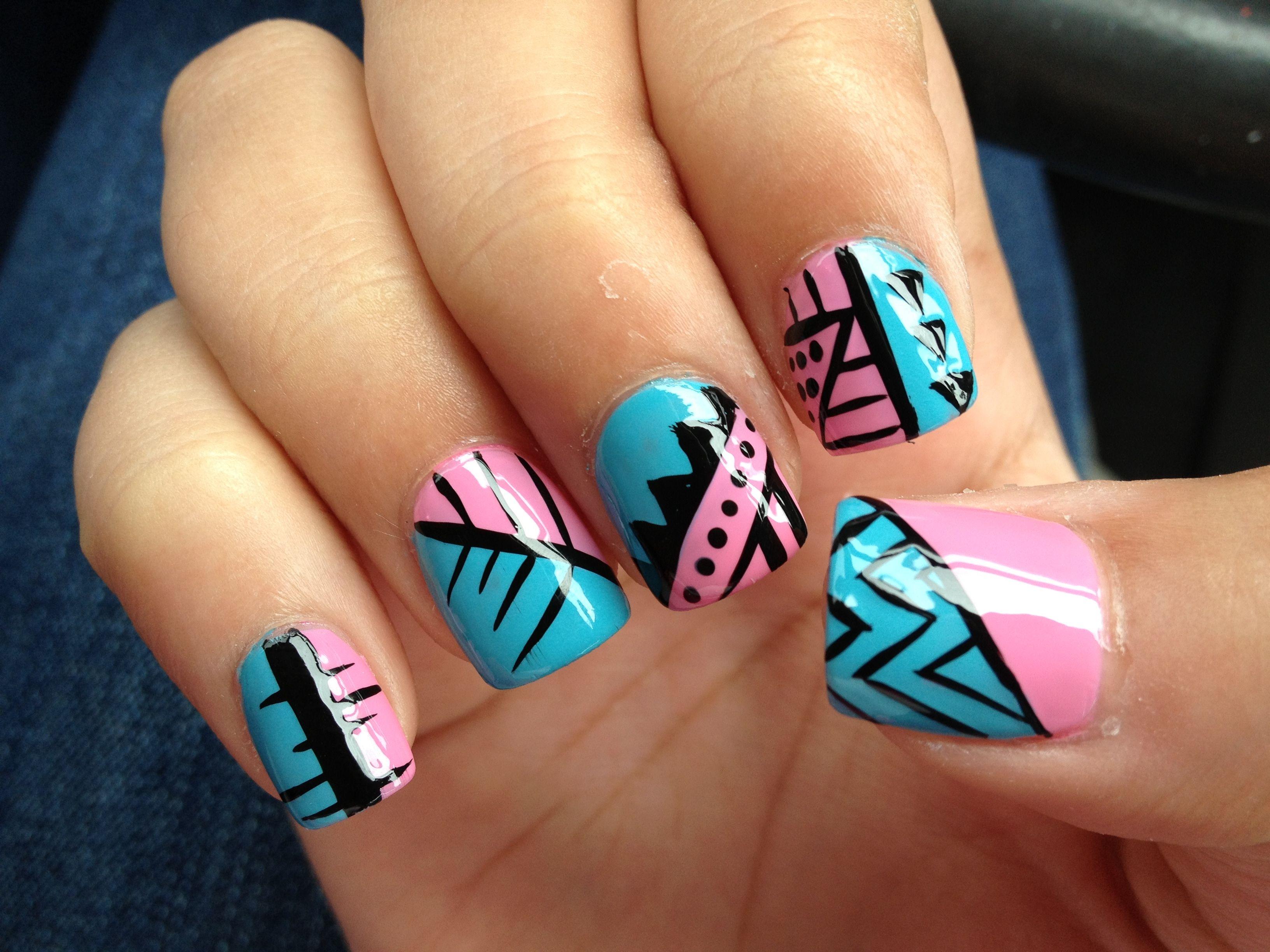 Acrylic nail design nail art blue pink tribal | Nails | Pinterest ...