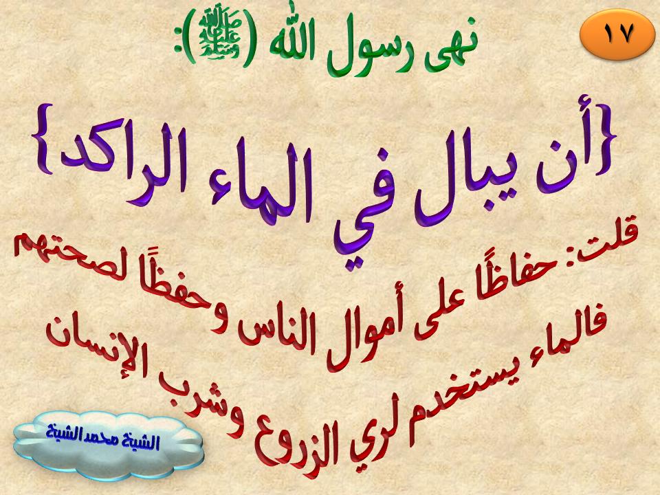 17 نهى رسول الله صلى الله عليه وسلم أن يبال في الماء الراكد Arabic Calligraphy