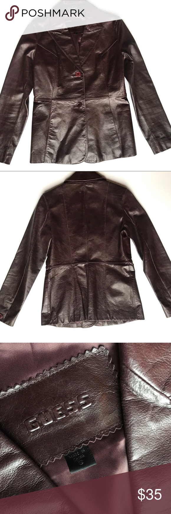 Guess Dark Brown Genuine Leather Jacket Small Leather Jacket Genuine Leather Jackets Jackets [ 1740 x 580 Pixel ]