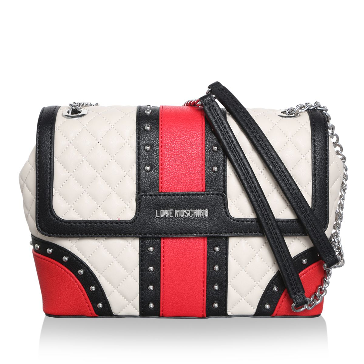 Heaven Rocks With The Urban Love Moschino Borsa Quilted Faux Leather Crossbody Bag In Black Red And White Fashionette Com