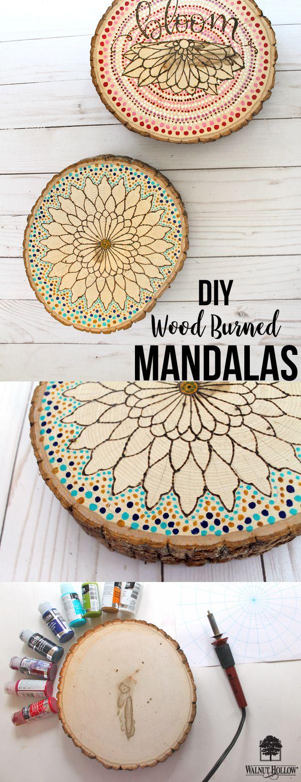 DIY Wood Burned Mandalas