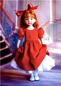 """Dots and Roses"" from *a**material**girl* showing the dress without the hanky apron and hat. Notice the white attached slip with a wide ruffle to add fullness to the skirt."