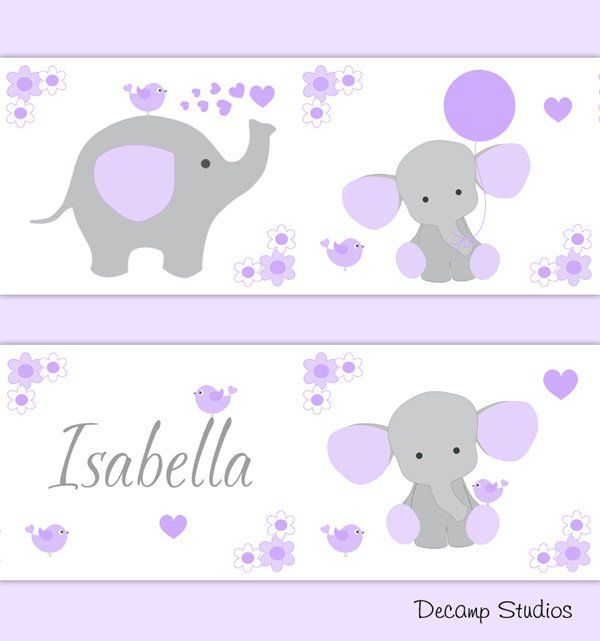 PERSONALIZED BABY NURSERY Girl Purple Elephant Wallpaper