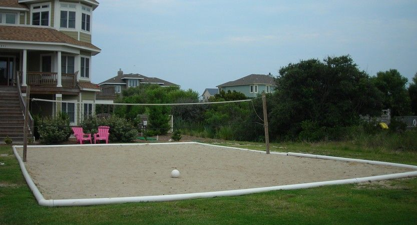 Outdoor Sand Volleyball Court Installation On The Outer Banks Sand Volleyball Court Volleyball Court Backyard Beach Volleyball Court