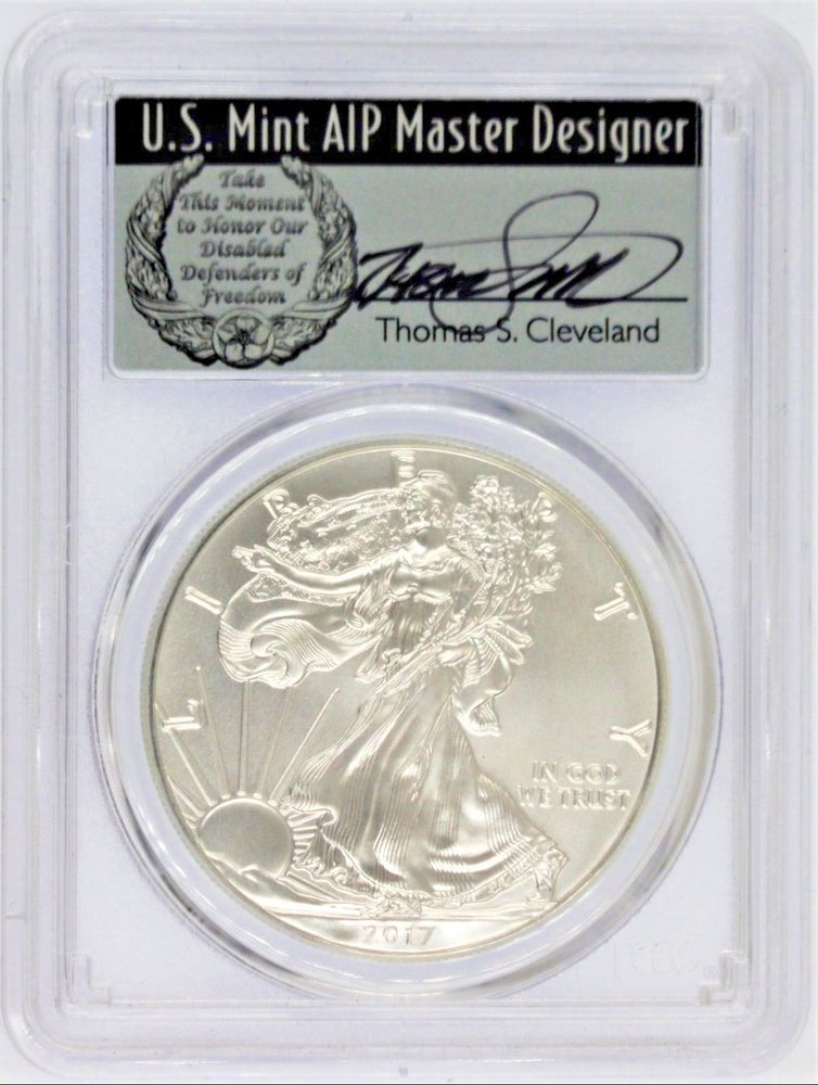 SILVER EAGLE PCGS MS70 THOMAS CLEVELAND /'STRUCK AT WEST POINT/' LABEL W 2017
