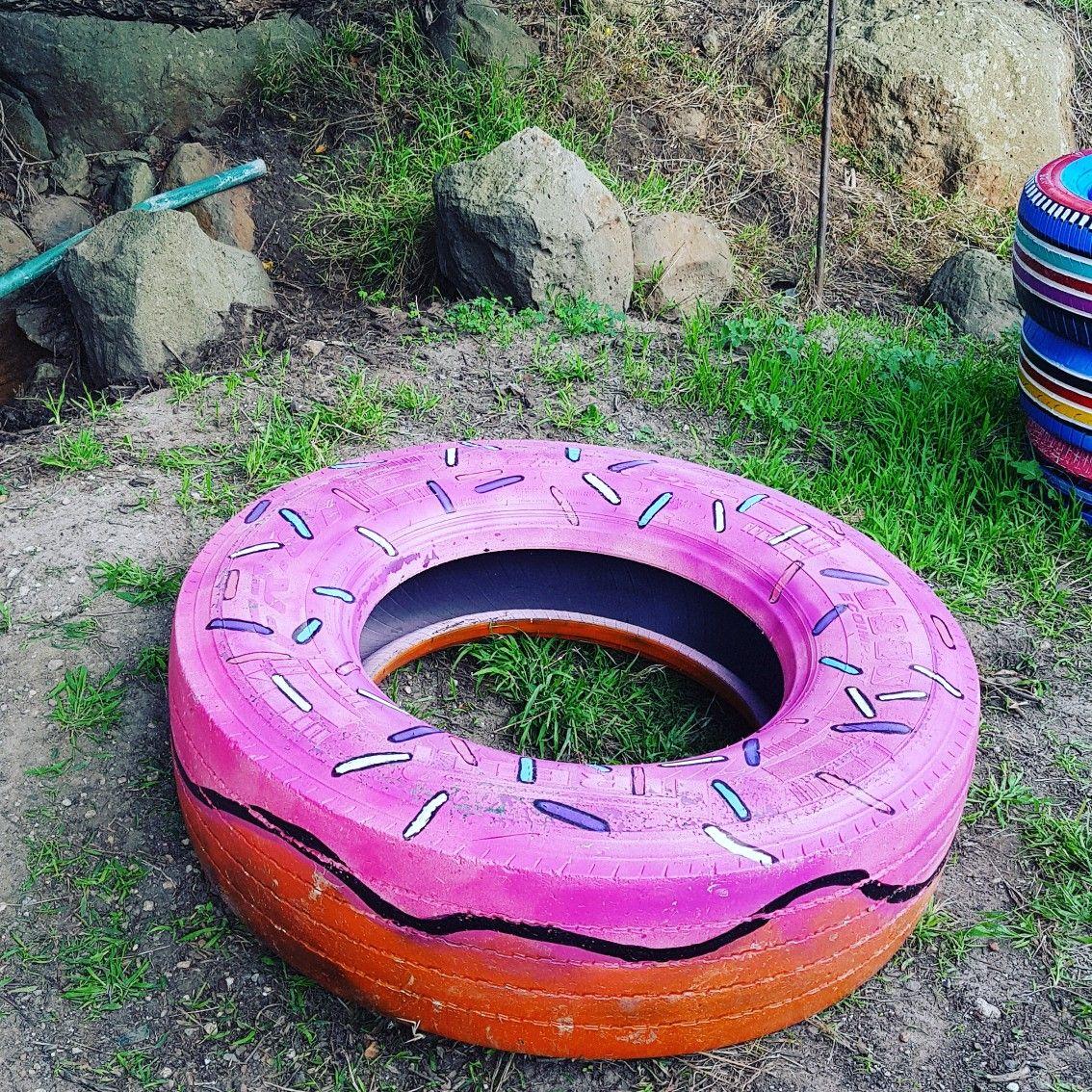 Donut truck tyre art | Fairy garden doors, Tire art, Truck tyres