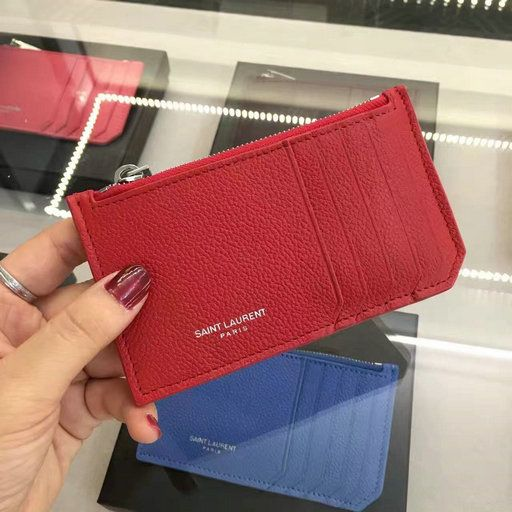 1b52483226a 2016 Saint Laurent 5 Fragments Zip Pouch in Red Leather $129.36 ...