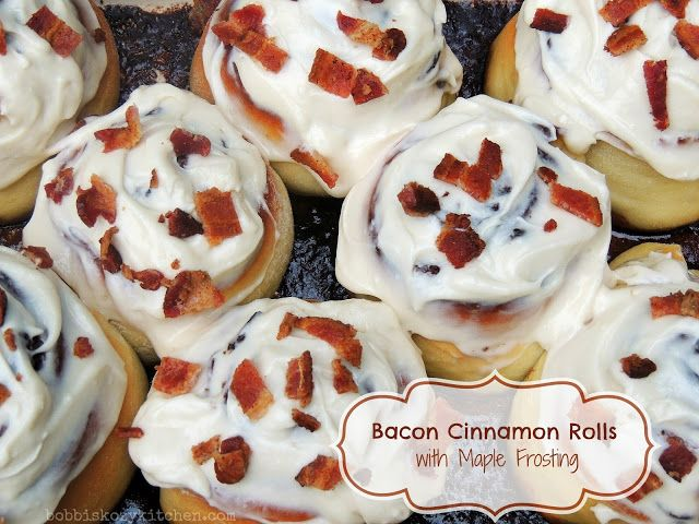 Bobbi's Kozy Kitchen: Bacon Cinnamon Rolls with Maple Frosting for #SundaySupper