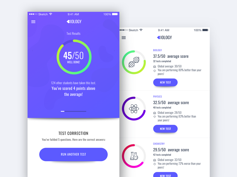 Biology Test App Design iOS Biology test, App design, App