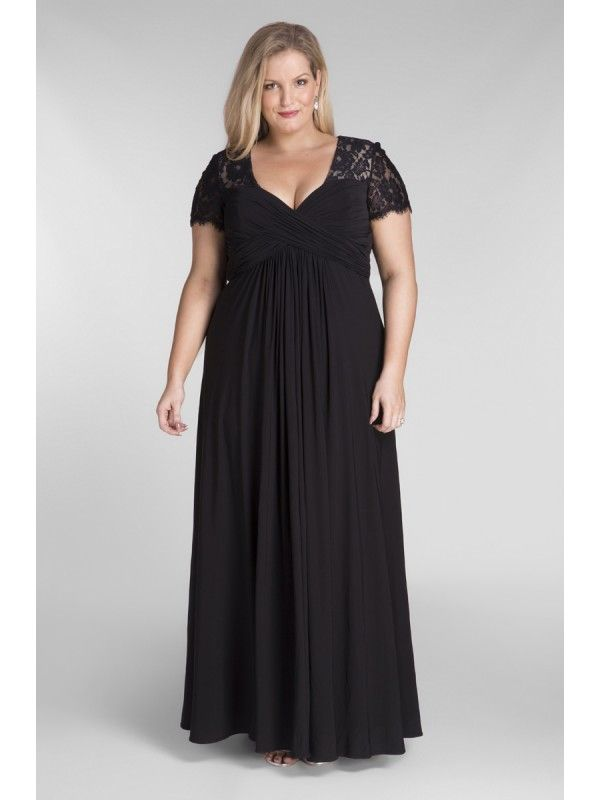 Full Length Chiffon And Lace Evening Dress In Black Black