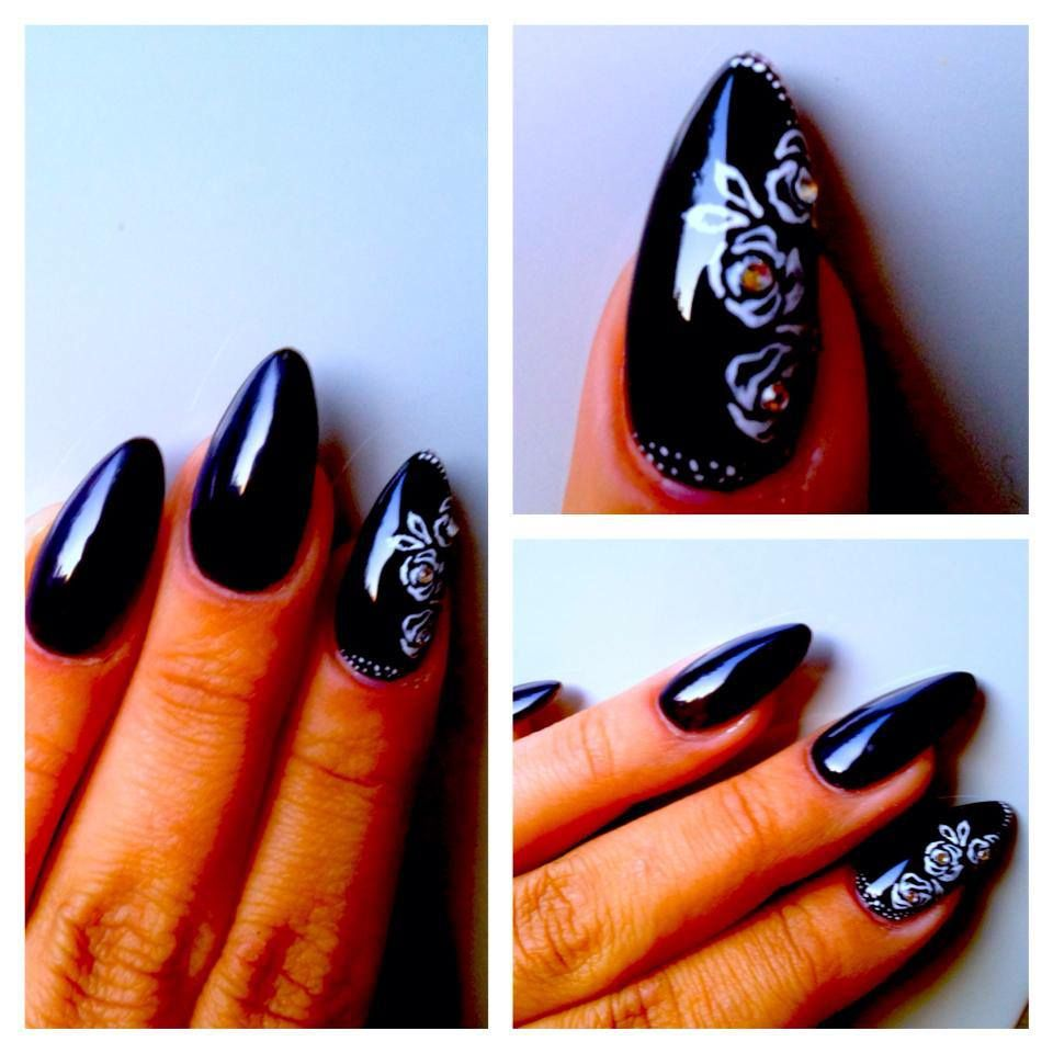 black almond shaped nails with handpainted roses | acrylic nails ...