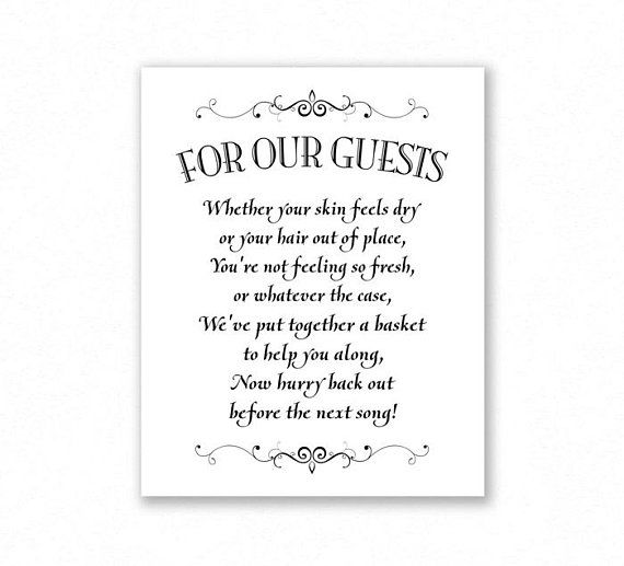 Bathroom Basket Printable Wedding Sign, 5x7 And 8x10