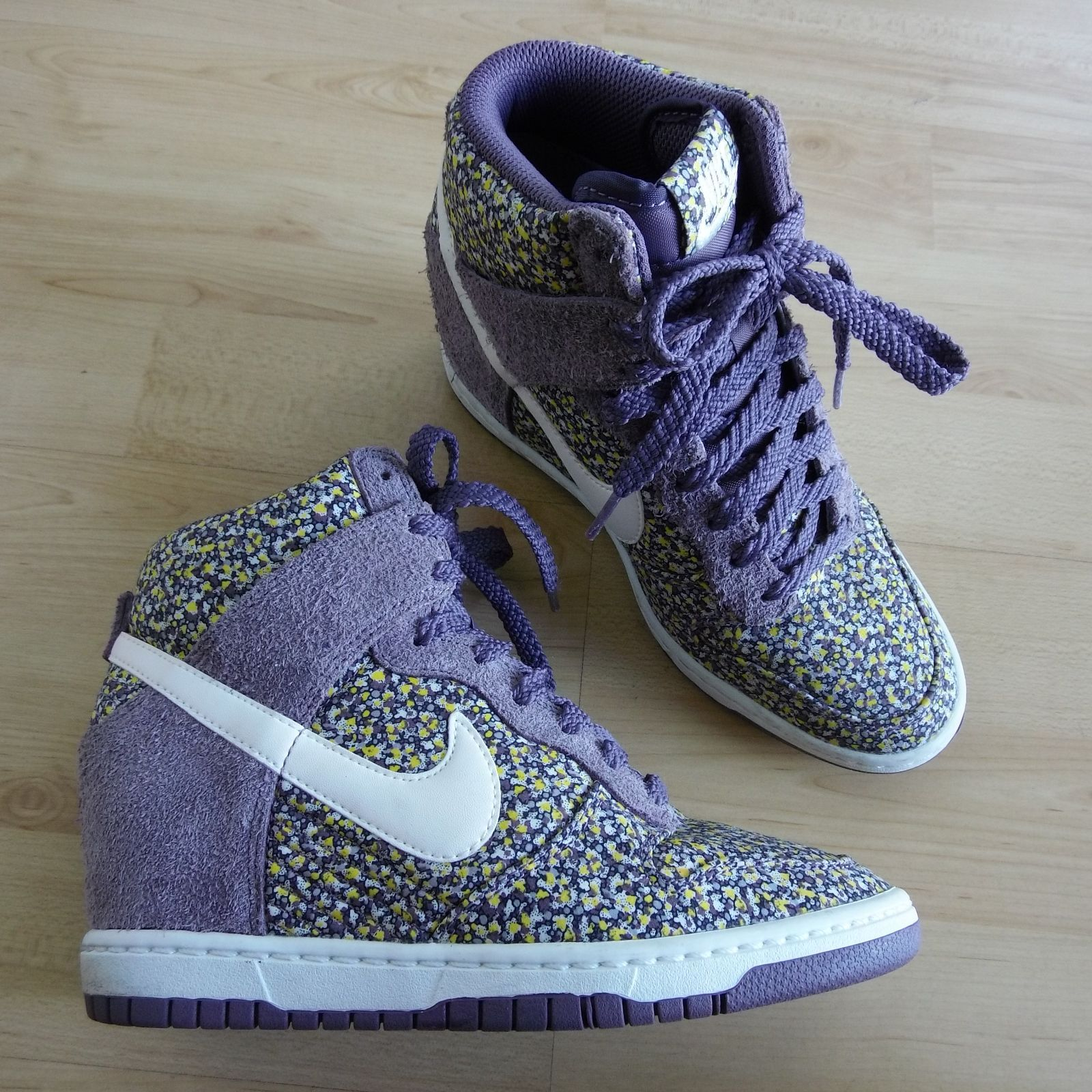 Nike Dunk Sky Hi Liberty Purple Suede and Floral Wedge