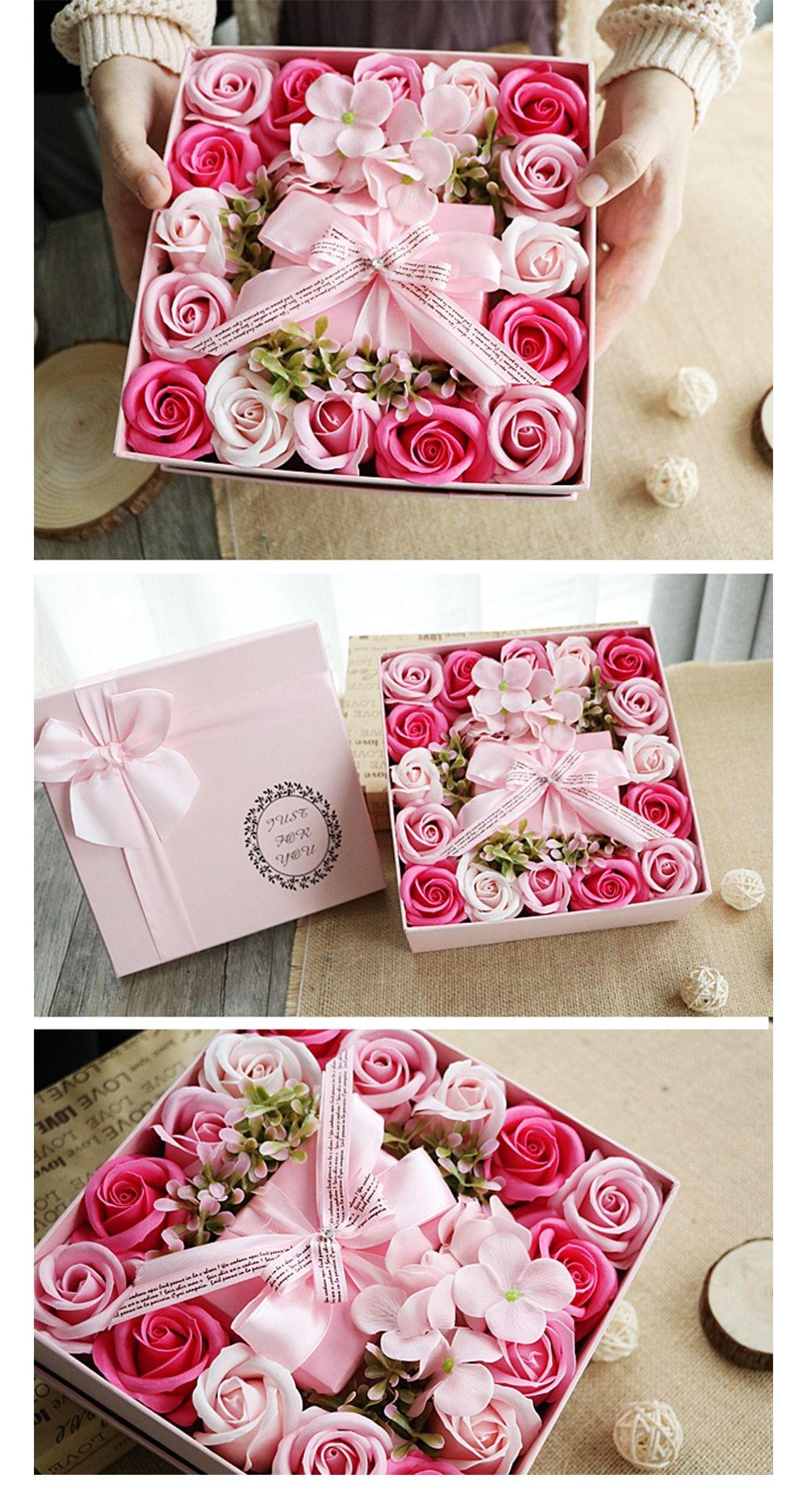 Rose Soap Petals Gift Set Flower box gift, Gifts, Pink