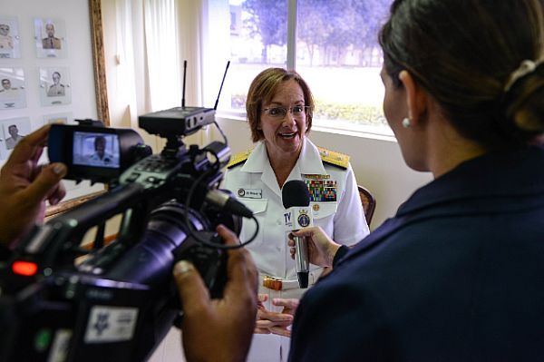 Rear Adm. Lisa Franchetti, commander of Carrier Strike Group Nine, answers questions during a press conference for UNITAS 2015.