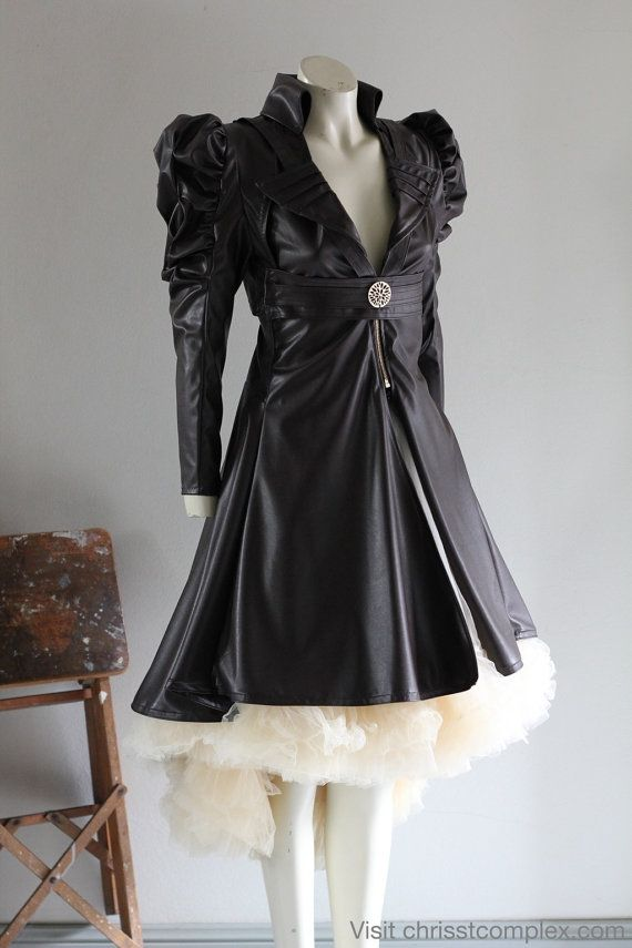 Steampunk Jacket Bolero Leather Gothic Tulle Wedding Bridal - Vest Bolero Tulle Skirt - Full 3 piece set - SPECIAL ETSY PRICE
