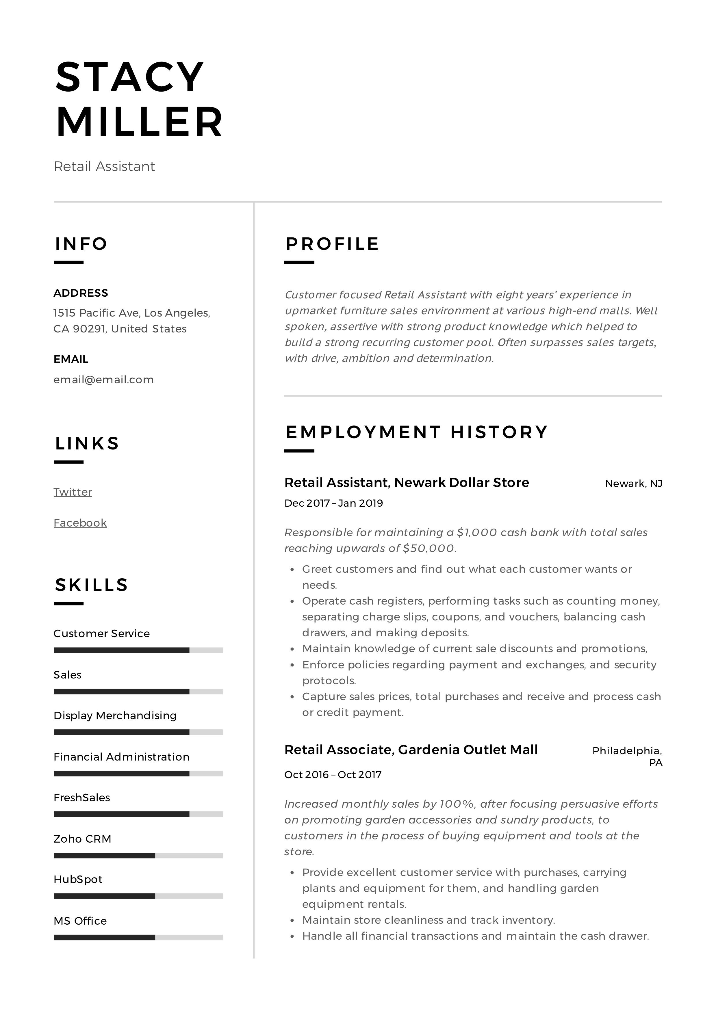 12 Retail Assistant Resume Samples & Writing Guide in 2020