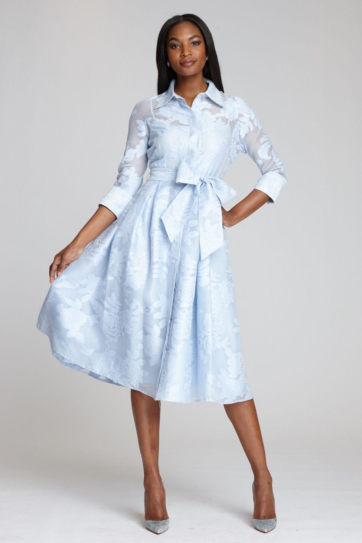 3 4 Sleeve Organza Jacquard Shirtwaist Dress Teri Jon Shirtwaist Dress Tea Length Dresses Tea Length Cocktail Dresses [ 1800 x 1200 Pixel ]