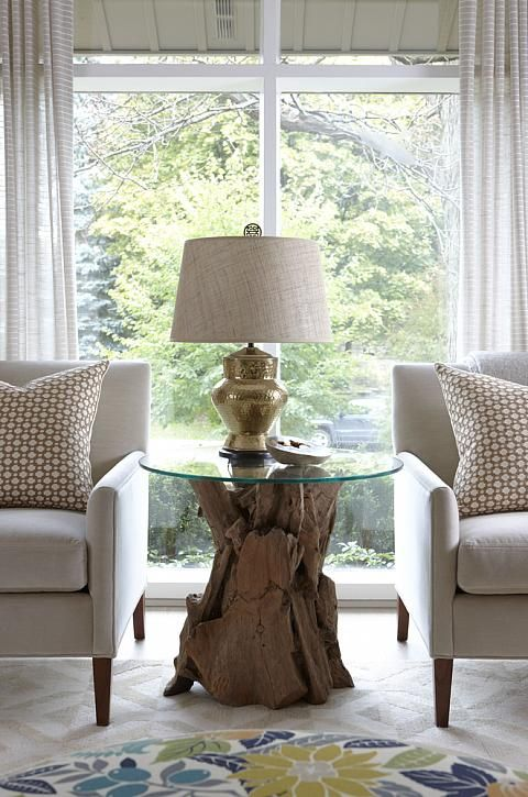 Sarah Richardson Sarah 101 Living Room Neutral Bold Schumacher Betwixt  Pillows Tree Stump Table
