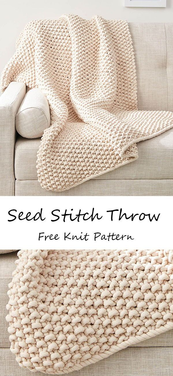 Bernat Seed Stitch Throw Pattern | Yarnspirations -   - #BabyKnits #bernat #Crocheting #Knitting #KnittingAndCrocheting #KnittingPatterns #pattern #Seed #SewingRooms #stitch #throw #yarnspirations #knittingpatterns