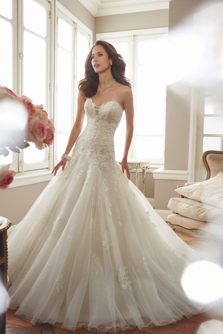 Dropped waist wedding dress  Deon Sophia Tolli Strapless tulle fit and flare wedding dress with
