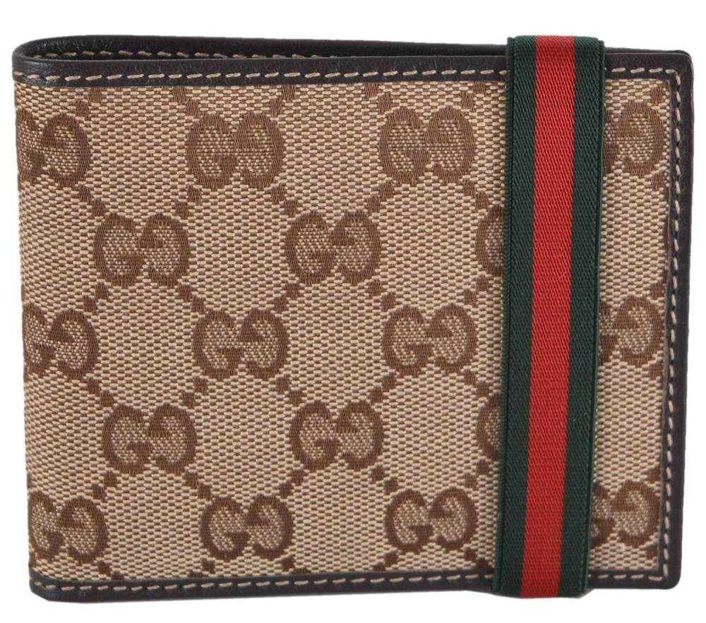 aae1ace1 Details about Auth GUCCI Guccissima Web GG Black Bifold Leather ...