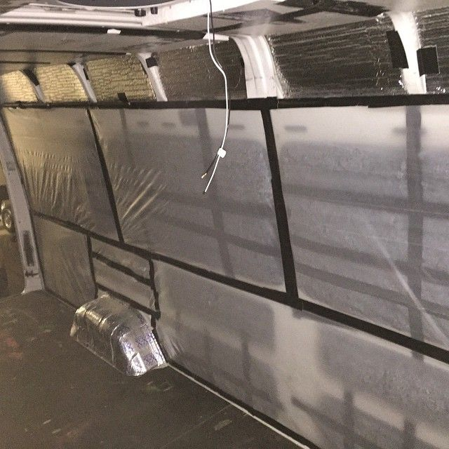 We Used 4mm Plastic Sheeting And Gorilla Tape To Put Up A Vapor Barrier Over The R13 Denim Insulation To Protect From Mo Diy Insulation Van Life Plastic Sheets
