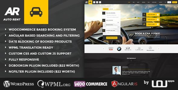 ThemeForest - Auto Rent - Car Rental WordPress Theme Free