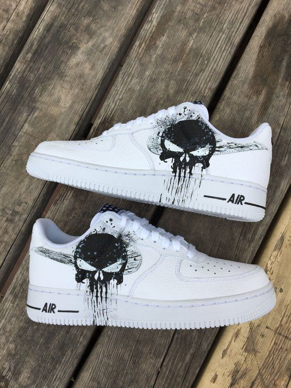 sale retailer 24122 ba5ee Custom Nike Air Force one, punisher,custom sneakers , custom shoes , custom  nike ,custom kicks ,hand