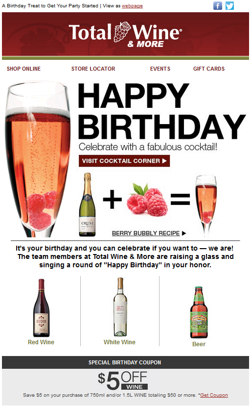 Total Wine Happy Birthday Email Birthday Email Triggered Email