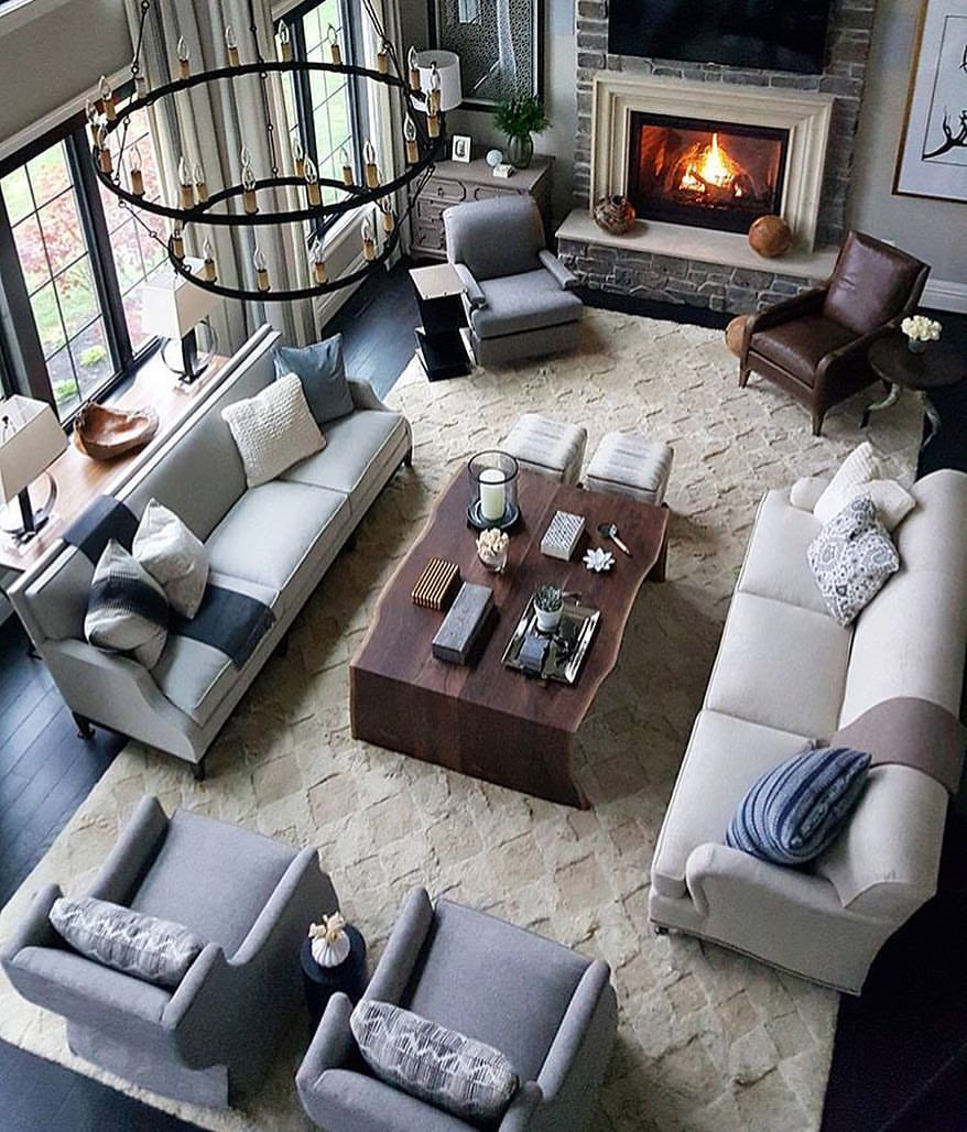What Do You Think Of This Space I Love The Symmetry Of The Room Tag A Friend Who Would Love Livingroom Layout Comfortable Living Rooms Long Living Room