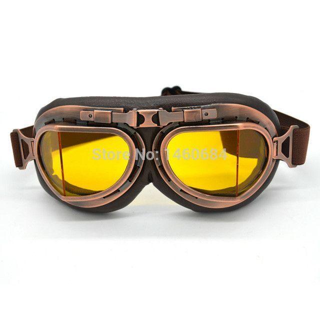 66a0926c7bbaea Evomosa New Universal Vintage Pilot Biker Motorcycle Goggles glasses for  Helmet Open Face Half Motocross Goggles