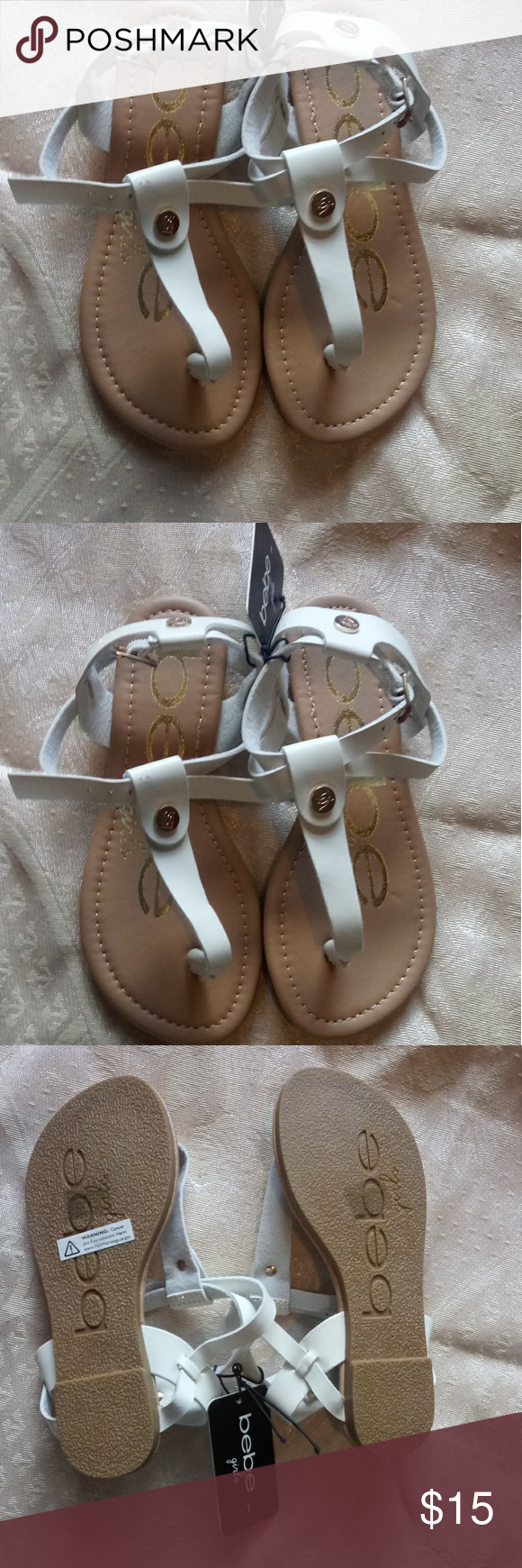 Bebe girl sandals Bebe girl sandals white and tan size 1youth new with tag no box fits a 4 or 5 yearold Shoes Sandals & Flip Flops
