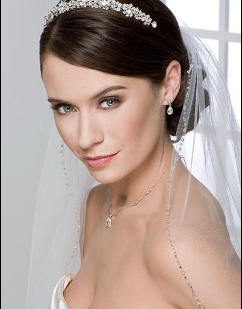 Half Up Down Wedding Hairstyles With Tiara And Veil