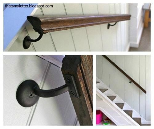 Refinished Stained Railing #banisterremodel