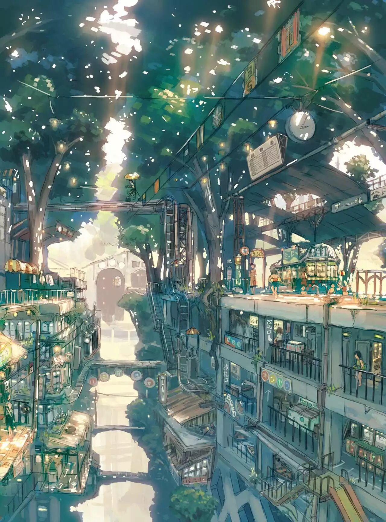 Forest City Fantasy Landscape Environment Concept Art Anime