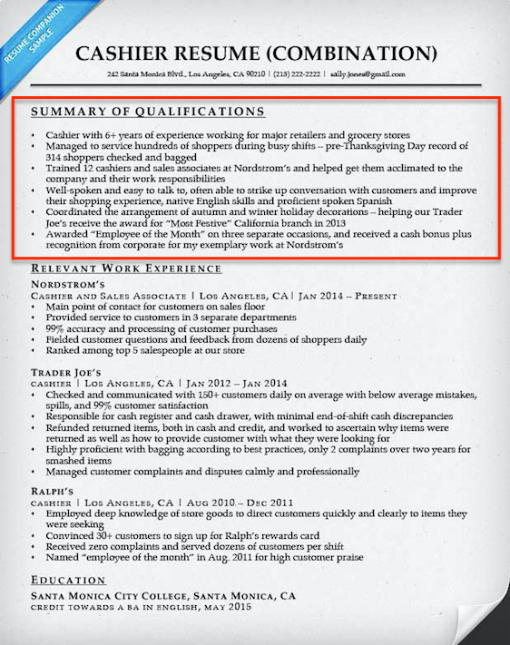 Resume Format Qualifications Resume summary examples