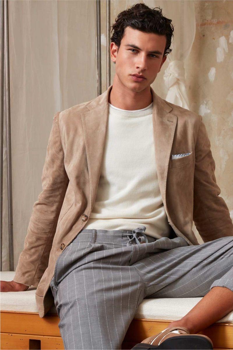 b379a1e4310 Mattia Narducci models a smart look from Eleventy s spring-summer 2019  collection. Men fashion