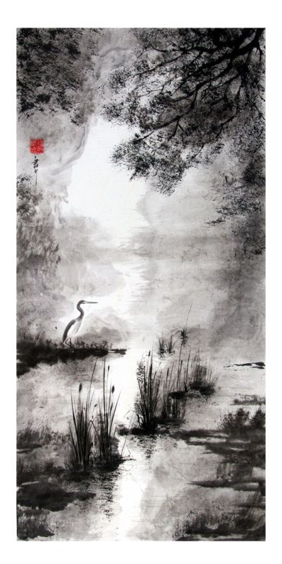 Tableau peinture clair de lune japon sumi e nocturne peinture chinoise en 2018 pinterest - Dessin arbre japonais ...