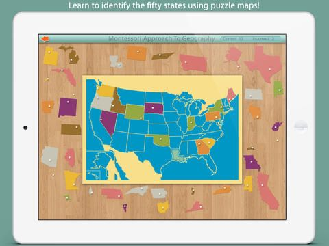 Montessori Approach to Geography iPad app for studying US geography ...