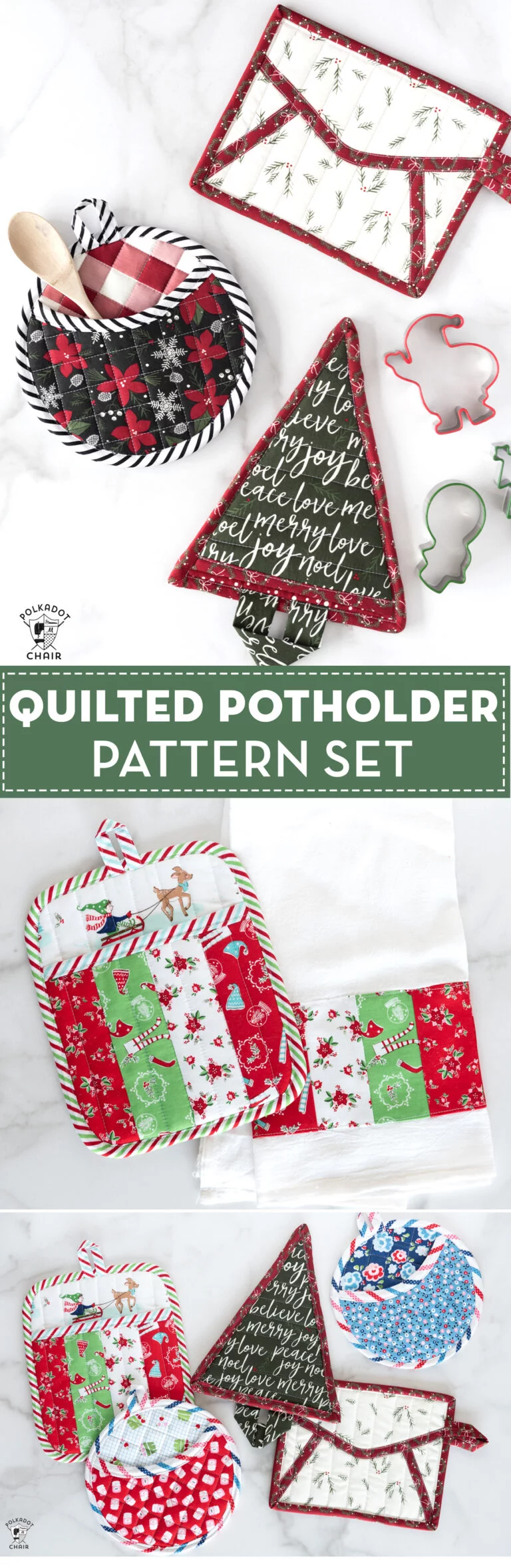 Quilted Christmas Potholder Pattern #potholders