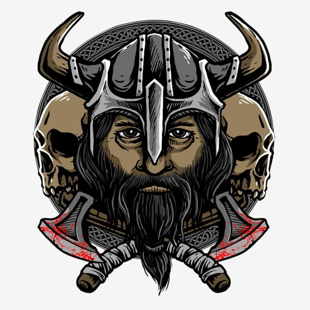 Vector Of Viking Head With Twin Skull And Weapon, Head ...