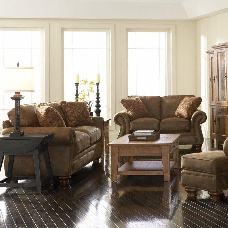 Broyhill Laramie 4 Piece Queen Sleeper Sofa Set in Brown 5081
