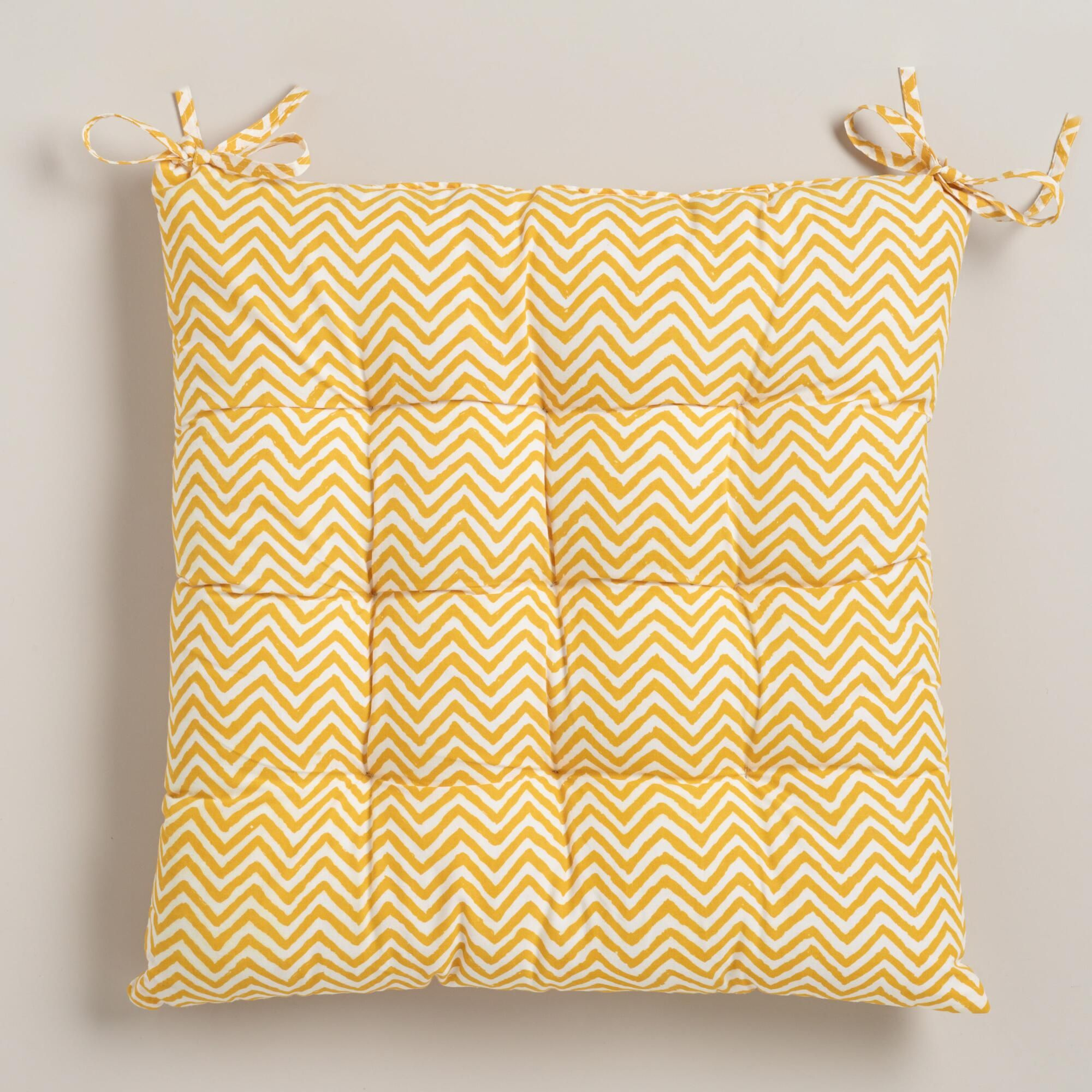 Our Rustic Yellow Chevron Chair Cushion