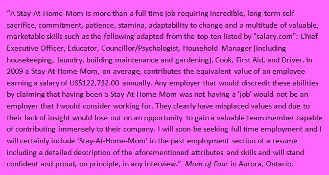 Stay at Home Mum Found this posted on a forum - VERY well said