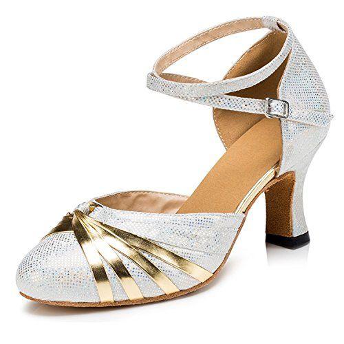 d904f74309b Minishion Women s Cross Strap Silver Glitter Salsa Tango ... https   www