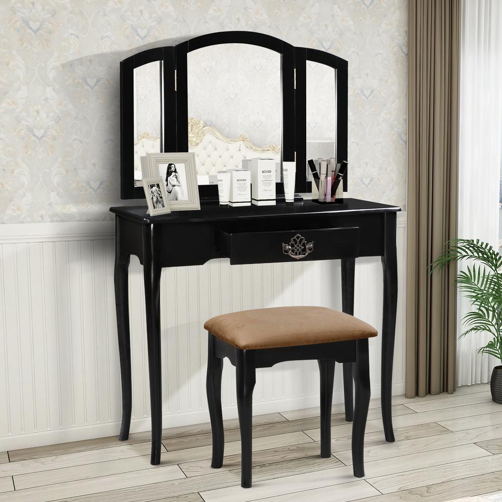Harper & Bright Designs 2Piece Black Vanity Set with