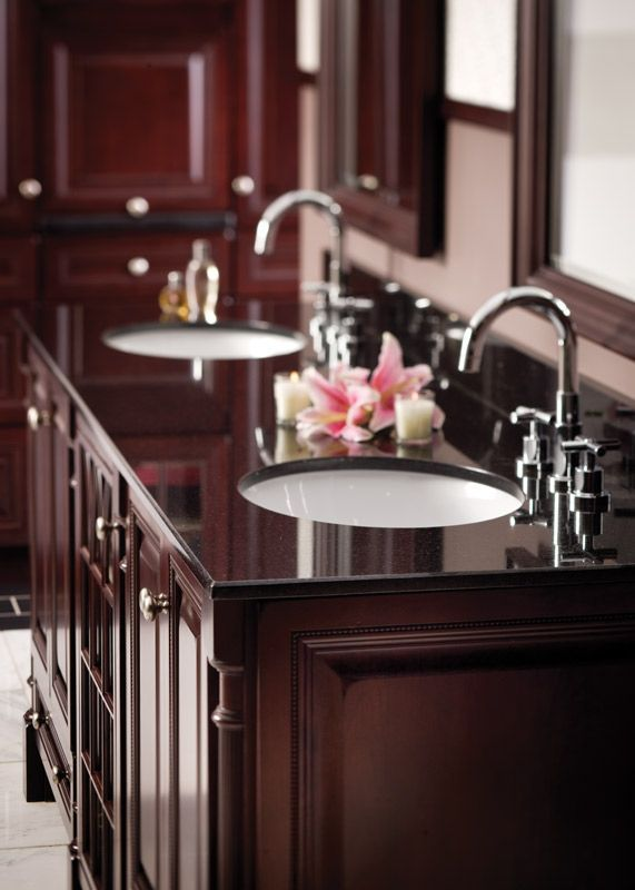 Black Galaxy Natural Granite Vanity Top With Denova Vitreous China Undermount Oval Sinks And Bevel Edge