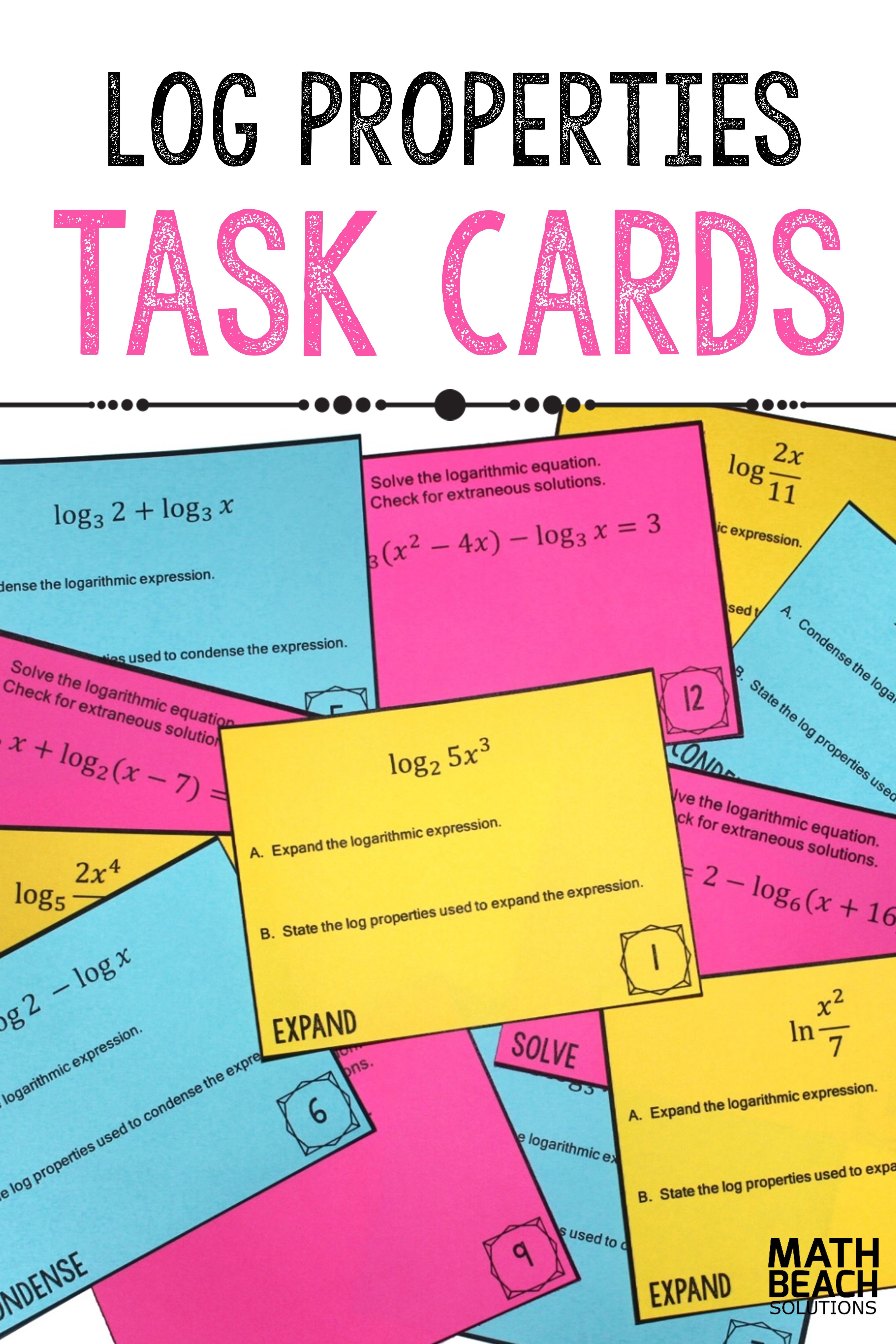 Log Properties Task Card Activity Task cards, Algebra